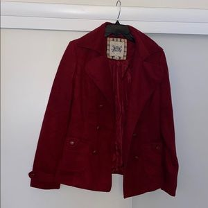 Double breasted red pea jacket made by Bozzolo